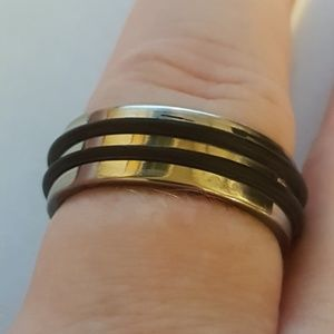 Stainless Steel Rubber Band Ring Men Size 6.5